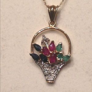 Jewelry - 14k gold multi gemstone pendant with chain